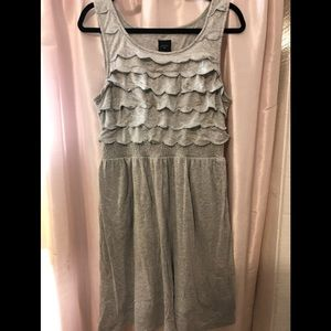 Anthropologie Silver cotton dress with pockets